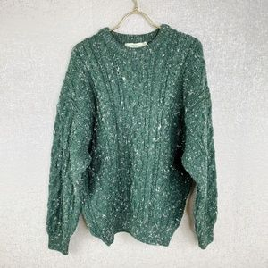 New Aran Crafts Speckled Cable Knit Wool Sweater